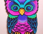 colorful pretty traditional owl necklace