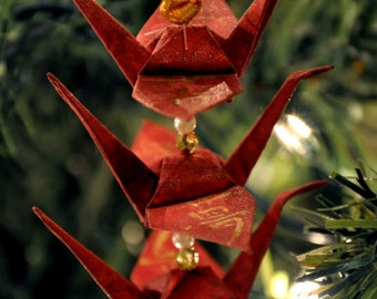 Gold Dream Kanji on Burgundy Origami Crane Trio Christmas Tree Ornament Holiday Decoration