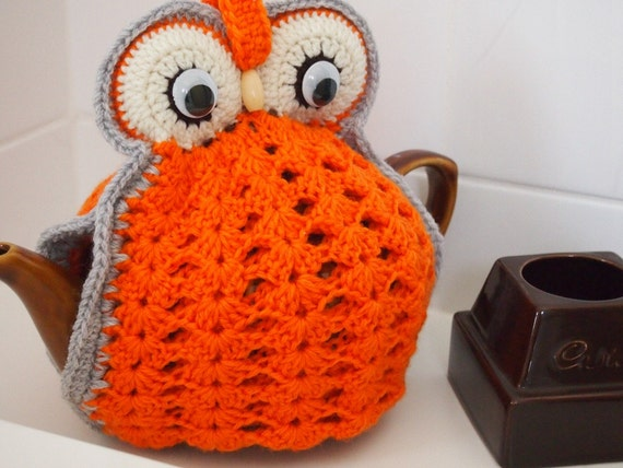 Owl Tea Cosy - orange - made to order