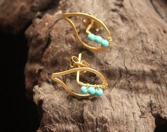 Small leaf Turquoise Earrings (ce0223)