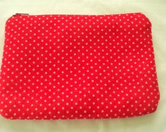 polka dots white----felt med zippy pouch-- handproduced--(ship in 1 day)