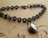 Steampunk Gunmetal Bracelet Teardrop  Charm Chain