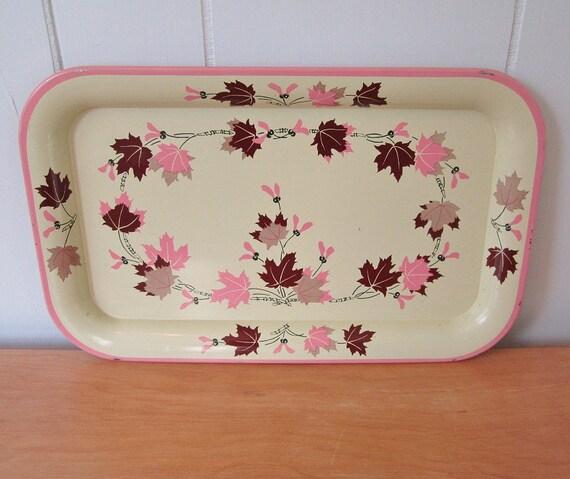 vintage pink maple leaf tray