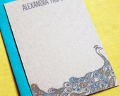 Set of 10 personalized flat notes- Peacock on Kraft