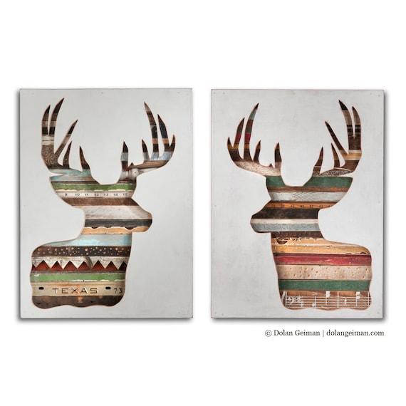 Virginia Den Set of 2 Deer Antler Silhouette Art