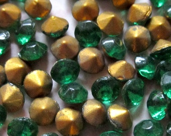 100 pcs. vintage fire polished emerald rhinestones ss18 - f3065