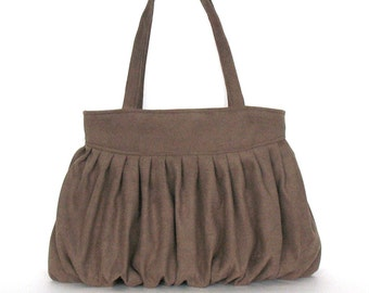 Ultra suede handbag , Brown fabric purse , Faux suede tote bag ,Large vegan bag , pleated brown shoulder bag , Handmade purses in Canada