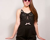 Black Rhinestone Cat Face Playsuit MADE TO ORDER