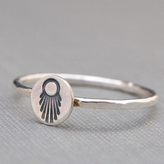 Sterling Silver Ring , Southwest Jewelry , Hand Stamped Jewelry