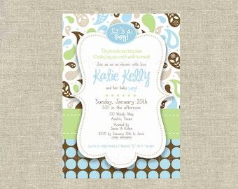 Mod Baby Boy Shower  Invitation Paisley Brown Blue Green Dots Digital Printable by girlsatplay girls at play