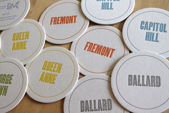 SEATTLE Letterpress Neighborhood Coasters (Pack of 10)