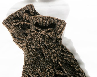 Womens Legwarmers Handknitted Dark Chocolate Brown Ladies Small Medium