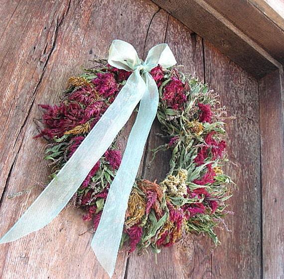 CELOSIA dried flower WREATH for AUTUMN