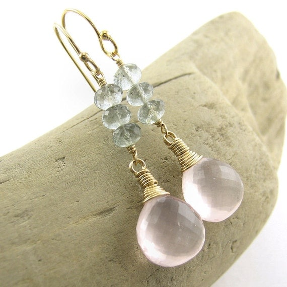 CLEARANCE Rose Quartz Earrings Moss Aquamarine Gemstone Dangle Earrings Holiday Gift Christmas Gift for Her- Tracey No. 15