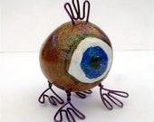 Eyeball Gourd & Wire Creature Desktop Pal Alien BLUE EYED purple copper pink weird love miniature