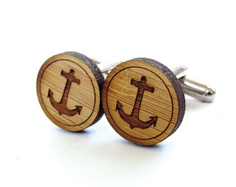 Anchor Cufflinks. Nautical Cufflinks. Wood Cufflinks. Groomsmen Gift. Groom Gift. Gift For Men. Mens Gift. Gifts For Dad. Gifts Under 25.