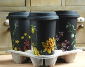 Custom Botanical Design - Black Ceramic Eco Friendly Travel Mug Double Walled Porcelain with Lid