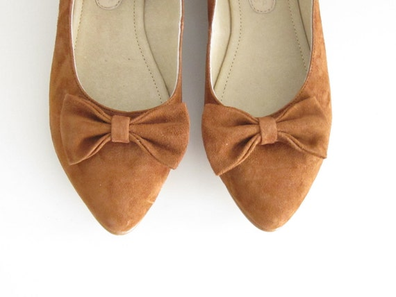 Brown suede leather ankle strap flat pointy shoe with bow