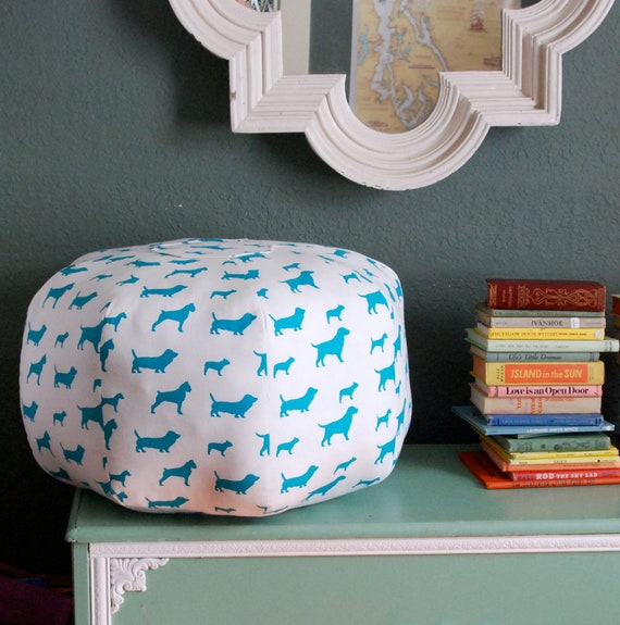 "SALE Pouf - Ready to Ship 24"" Ottoman Turquoise and White Dog Print"