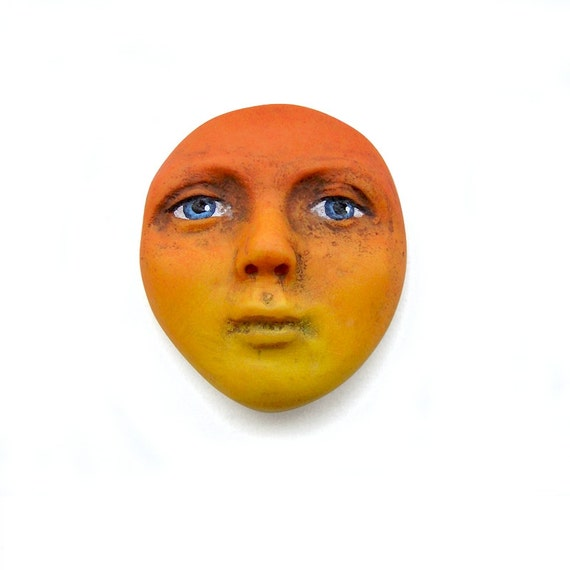 Bright Sunset Lady Art Doll Face Cab Orange Yellow Flaming Fire Blue Eyes Polymer Clay Goddess Cabochon 2676