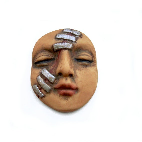 Frankenstein Monster Face Cab Polymer Clay Cabochon Halloween Tan Silver Staples Creepy Cute Sleepy Dream Art Doll Parts 2680