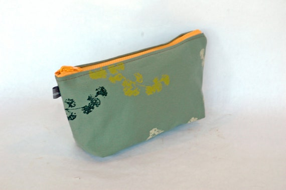 Smokey jade canvas cosmetic bag with Wildwood print-lined with vinyl