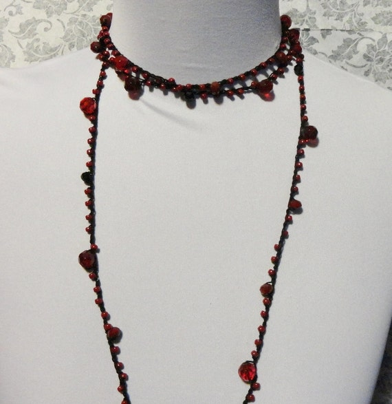 Crochet Beaded Gothic Black Vampire Red Necklace Victorian Noir Steampunk Goth Wiccan