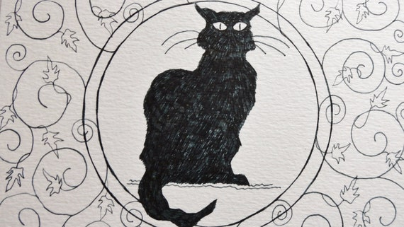 Black Cat Gothic Victorian Noir Steampunk Mourning Wiccan Midnight Handdrawn Card