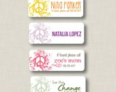 SALE Iron On Clothing Labels - Peace Sign Personalized Name Labels - Set of 30