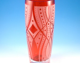Carolines Song - Etched Crystal Vase - Ruby Red Custom Glassware - Limited Edition
