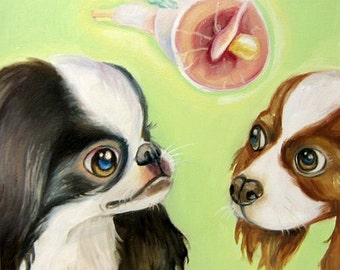 ORIGINAL- Japanese Chin and Cavalier King Charles Spaniel