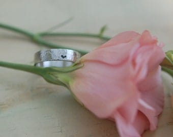 Commitment Ring- Little, little bit of Heart Hammered White Gold Ring, Promise Ring, Wedding band, Anniversary Ring