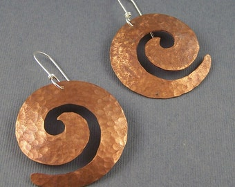 Ready to Ship Copper and  Sterling Silver Large Spiral  Earrings