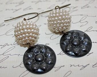 Vintage Beaded Earrings - Black and White - OOAK