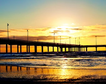 Sunrise in Port Aransas - Texas Photography, Beach Photo, Gulf Coast, Pier, Sunrise, Morning, Golden