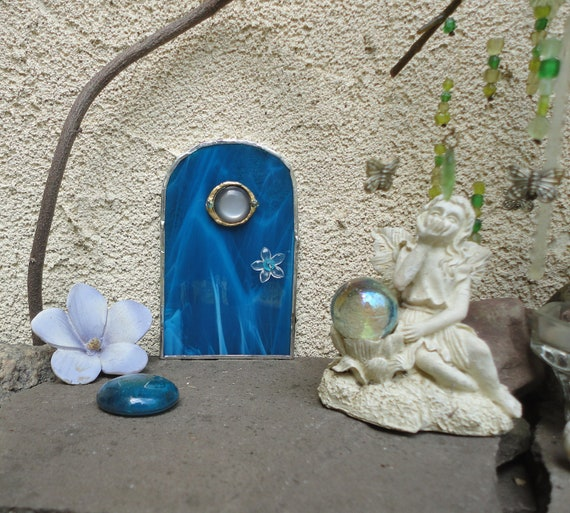 Sale fairy door garden sculpture blue stained by for Fairy doors for sale