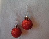 Christmas Ornament Earrings Red glitter Ball Style Earrings