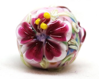 Made to order Margo lampwork beads flowery