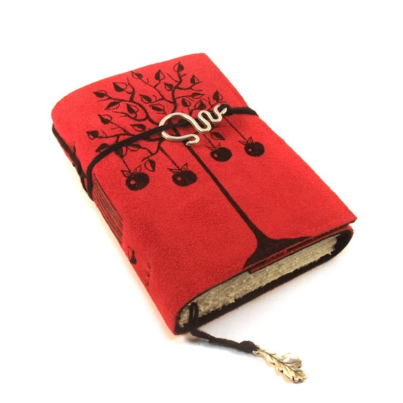Apple Tree, leather journal, red suede