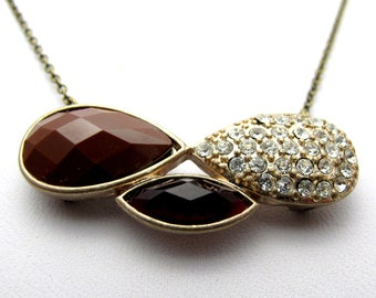 """CLEARANCE - Brown Opaque with Clear Rhinestone Sparkles Infinity Necklace // Rhinestone Paved Pendant // 17"""" Brass Chain Necklace"""
