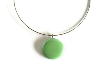 Statement Choker, Avocado Green Round, Pendant Necklace, Minimalist Jewelry, Neck Wire Choker, Mint Green Pendant, Women Necklace