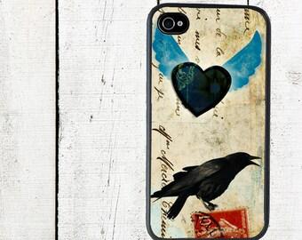 Raven Phone Case Winged Heartfor iPhone 4 4s 5 5s 5c SE 6 6s 7  6 6s 7 Plus Galaxy s4 s5 s6 s7 Edge