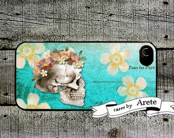 iphone 6 case Blue Floral Skull Phone Case - for iphone 4,4s or iphone 5