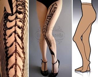 S/M Fish Bone tights / stockings full length pantyhose Light Mocha