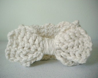 Crochet Headband with Large Bow in Winter White - Winter Earwarmer Headband for baby girl, child, or woman