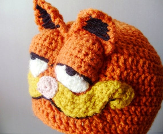 Garfield Crochet Hat - Retro Cartoon 3-D Cat Hat in Bright Orange with Ears and Snout for Children - Silly and Chunky Crochet Hat