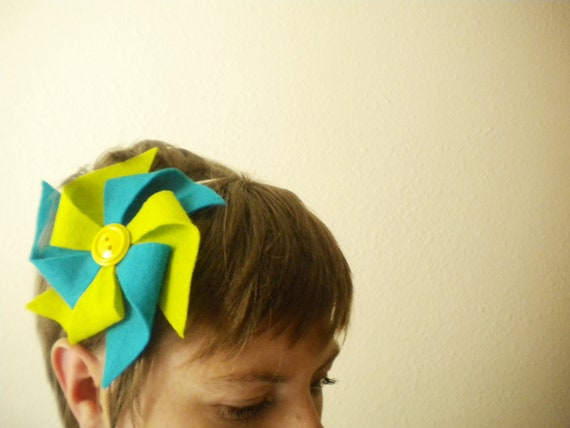 Colorful Felt Pinwheel Headbands with Buttons for Women or Children- Choose Metal or Plastic Headband