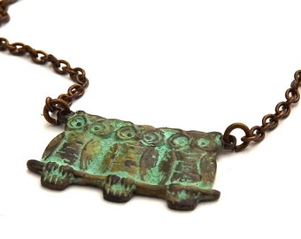 Vintage Inspired Verdigris Owl Trio And Brass Necklace
