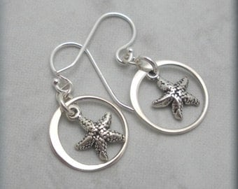Starfish Earrings, Star Fish Earrings, Beach Earrings, Ocean Earrings, Beach Jewelry, Sterling Silver, Nautical Earrigs (SE968)