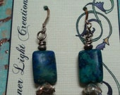 Chysocolla Oblong with Karen Hill Tribe Silver Accents - Dangly Earrings